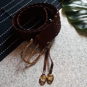{Michael Kors} Brown Leather Braided Belt Size M